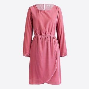 J Crew Pink Velvet Tulip Hem Dress Size 6 NWT